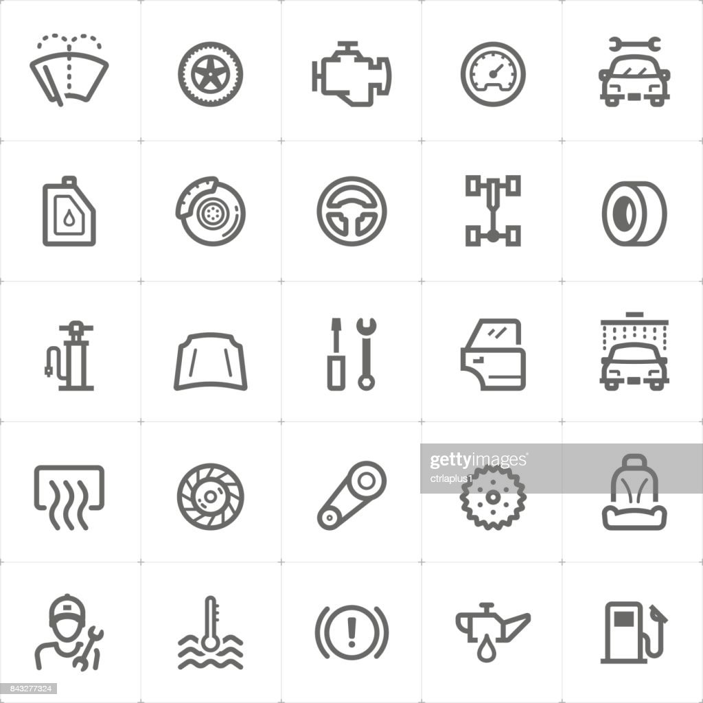 Mini Icon set - garage and auto part icon vector illustration