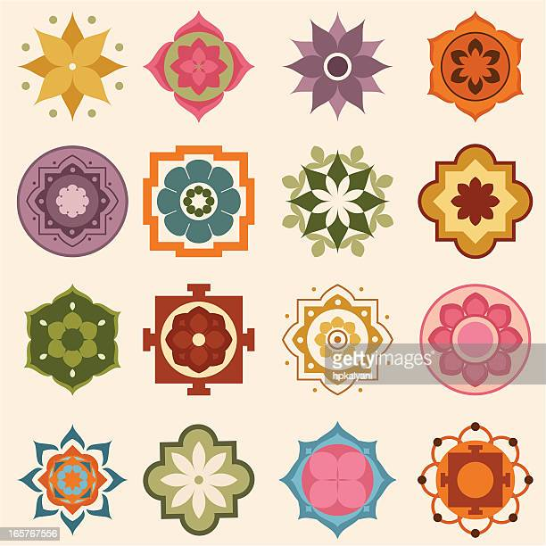 mini mandalas - single flower stock illustrations