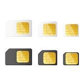 Mini, micro, nano sim cards in black and white color