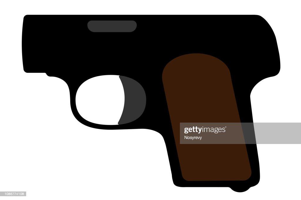 Mini pistol, browning. Vector silhouette weapon, gun