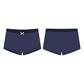 Mini short knickers underwear for children's on white background.