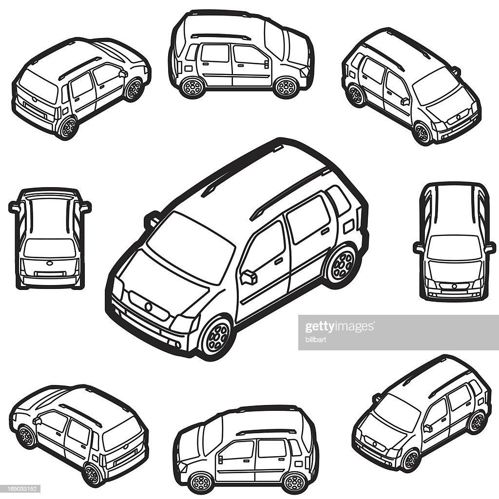 mini wagon 4 door car illustrator : stock illustration