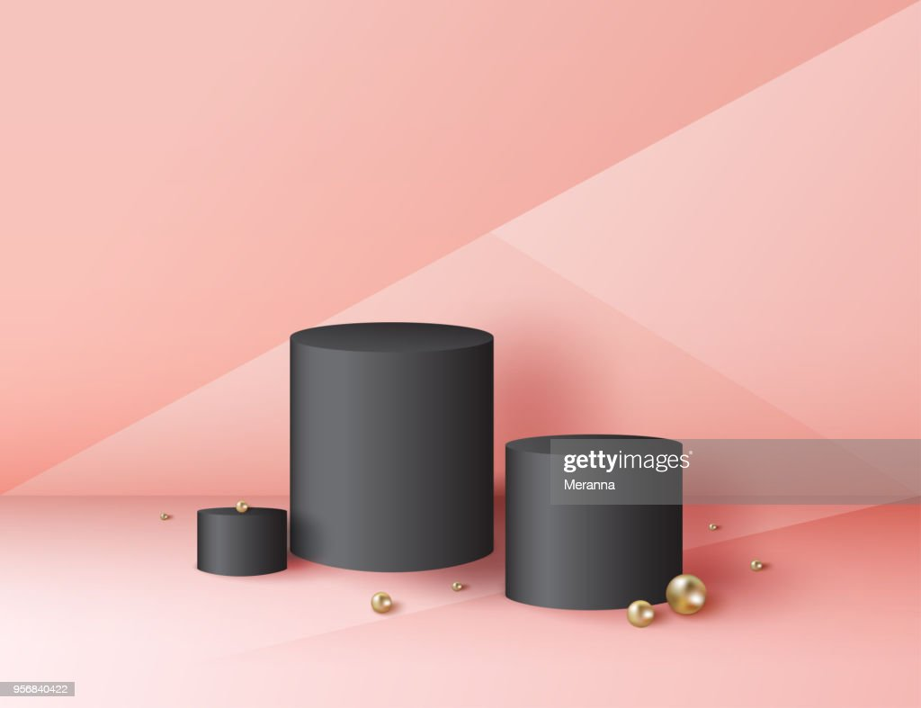 Minimal abstract cylinder shape and golden sphere, wall scene. Platform, podium to advertise various objects. Vector illustration.