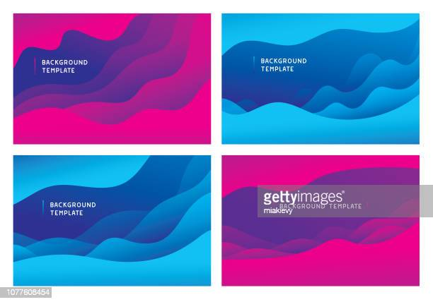 minimal abstract wave background templates - curve stock illustrations