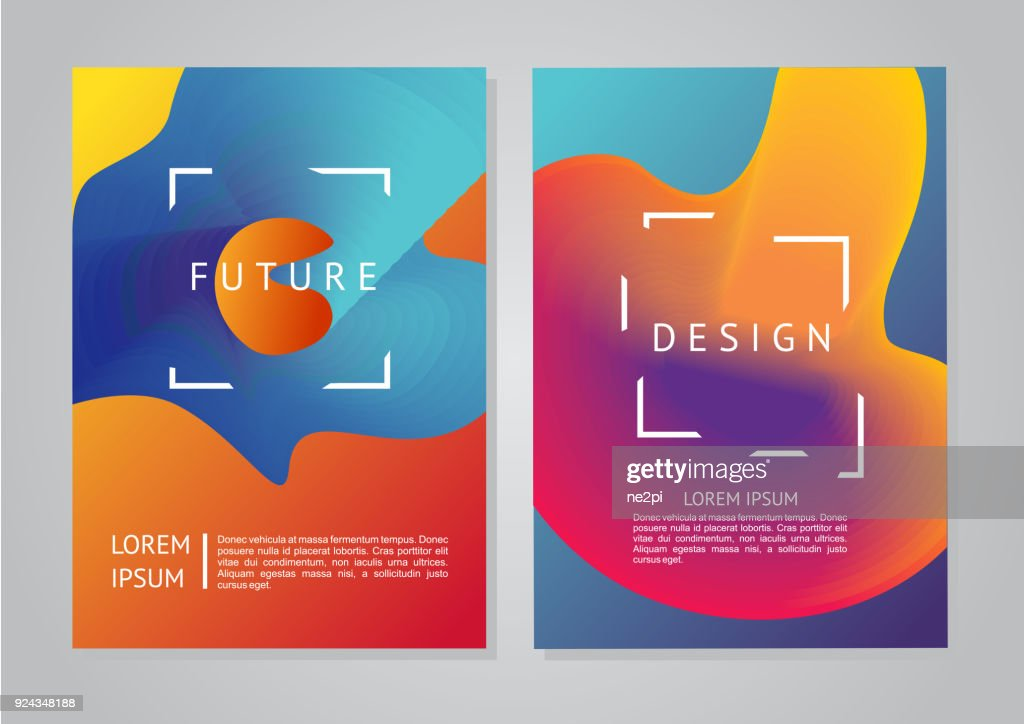 Minimal backgrounds set. Abstract future forms with vibrant gradients.