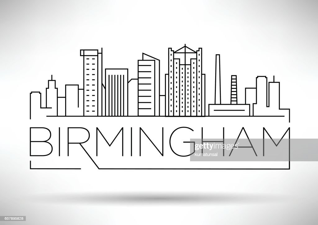 Minimal Birmingham Linear City Skyline with Typographic Design