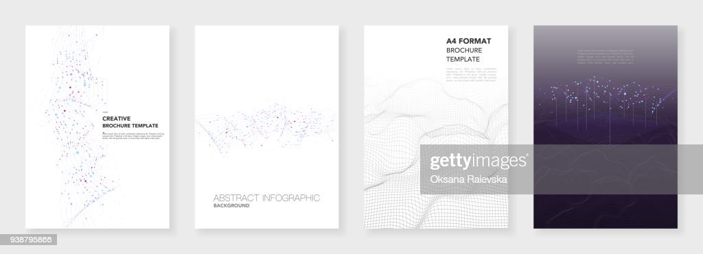 Minimal brochure Minimal brochure templates. Big data visualization with lines and dots. Technology sci-fi concept, abstract vector design. Templates for flyer, leaflet, brochure, report, presentation, advertising. Big data visualization.