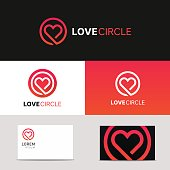 Minimal clean heart icon love logo sign with brand business card vector design