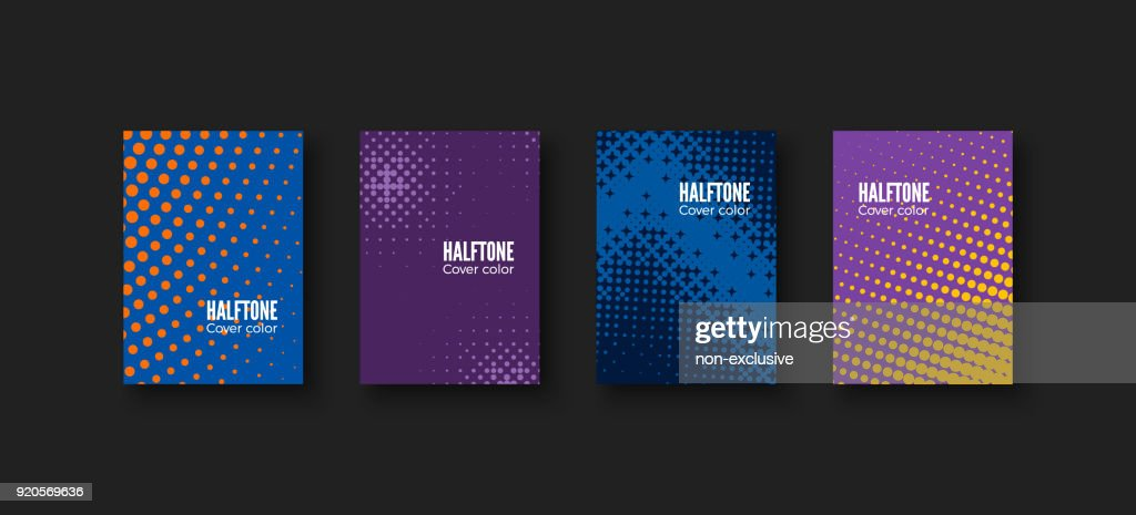 Minimal covers design. Geometric patterns set. Minimalistic identity template. Colorful halftone gradients. Vector illustration