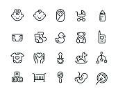 Minimal cute baby icon set