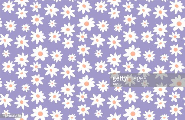 minimal cute hand-painted daisies background vector seamless patters. spring summer floral print - daisy stock illustrations