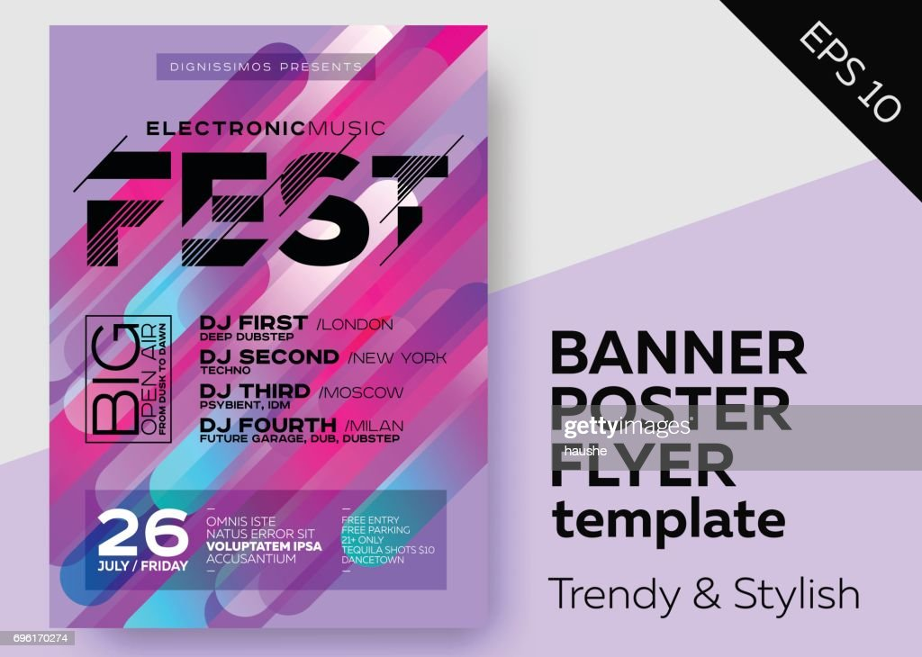 Minimal DJ Poster for Open Air. Electronic Music Cover for Summer Fest or Club Party Flyer.