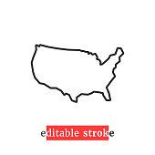 minimal editable stroke usa map icon