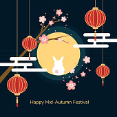 Minimal flat Happy mid-autumn festival poster in night scene with full moon rabbit red paper lantern and cheery blossom flowers