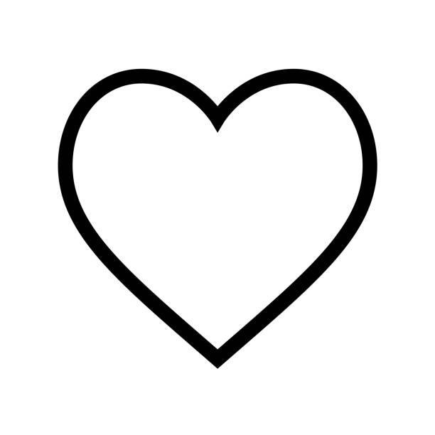 minimal flat heart shape icon with thin black line on white background - heart shape stock illustrations