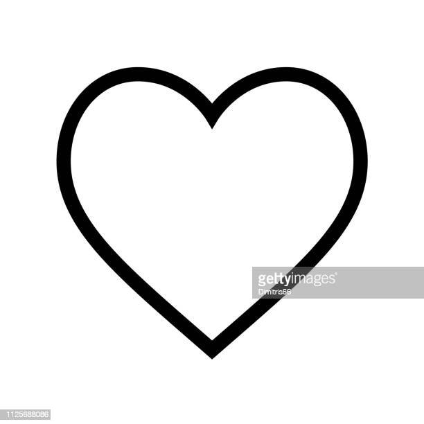 minimal flat heart shape icon with thin black line on white background - heart shape stock illustrations