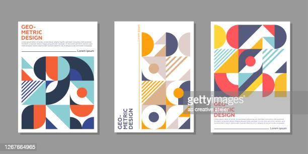minimal geometric posters with colorful patterns. - fashion stock illustrations