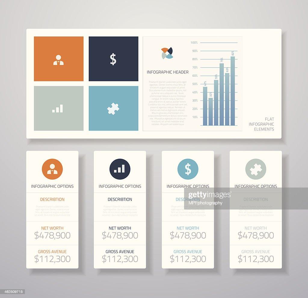 Minimal infographic flat business ui elements vector illustration