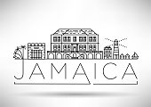 Minimal Jamaica City Linear Skyline with Typographic Design