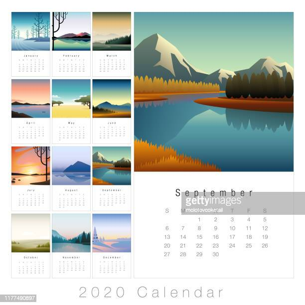2020 minimal landscape calendar - season stock illustrations