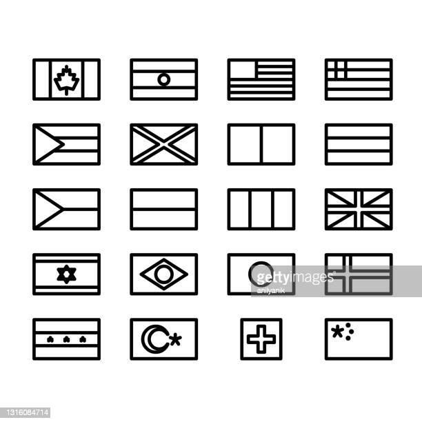 illustrations, cliparts, dessins animés et icônes de drapeaux de ligne minimales - drapeau anglais