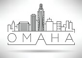 Minimal Omaha Linear City Skyline with Typographic Design