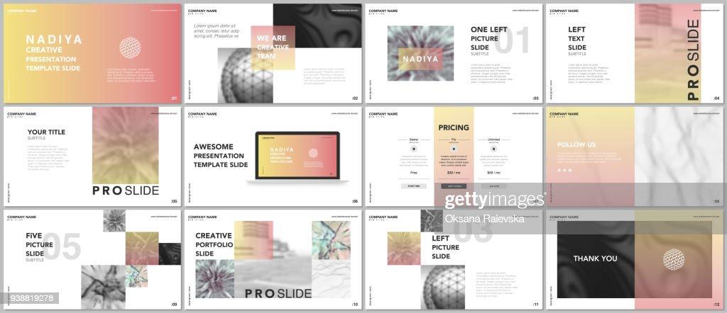 Minimal presentations, portfolio templates. Blue elements on a white background. Brochure cover vector design. Presentation slides for flyer, leaflet, brochure, report, marketing, advertising, banner.