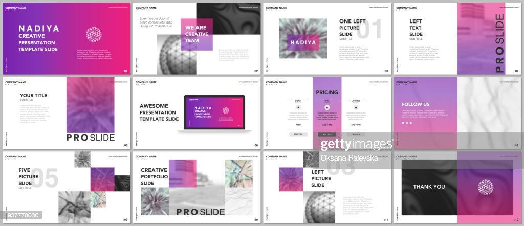 Minimal presentations, portfolio templates. Pink elements on a white background. Brochure cover vector design. Presentation slides for flyer, leaflet, brochure, report, marketing, advertising, banner