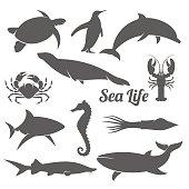 Minimal sea animals silhouette vector illustration