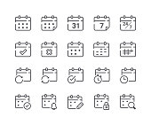 Minimal Set of Calendar and Schedule Line Icons