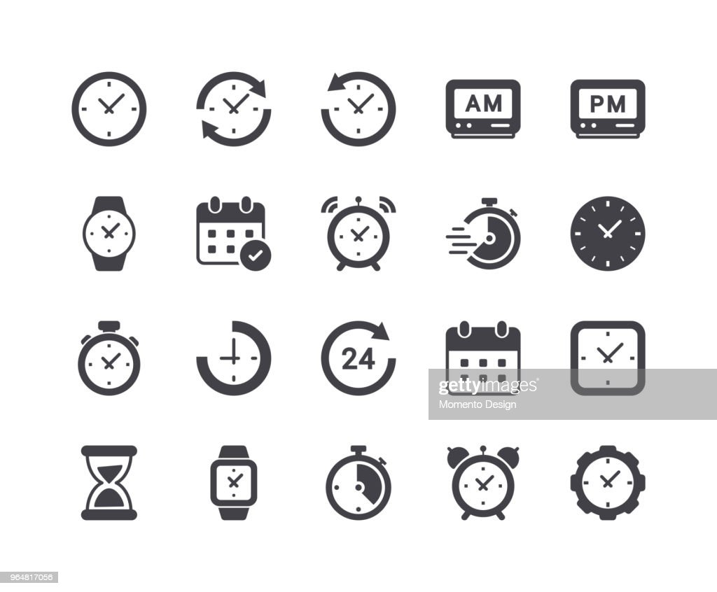 Minimal Set of Time and Clock Glyph Icons