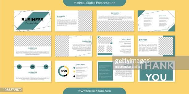 minimale folien präsentationsvorlage. geometrische formen und bunter hintergrund. - bildschirmpräsentation stock-grafiken, -clipart, -cartoons und -symbole