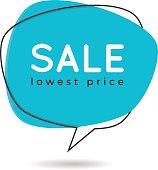 Minimal style flat speech bubble shaped banner, price tag, stick