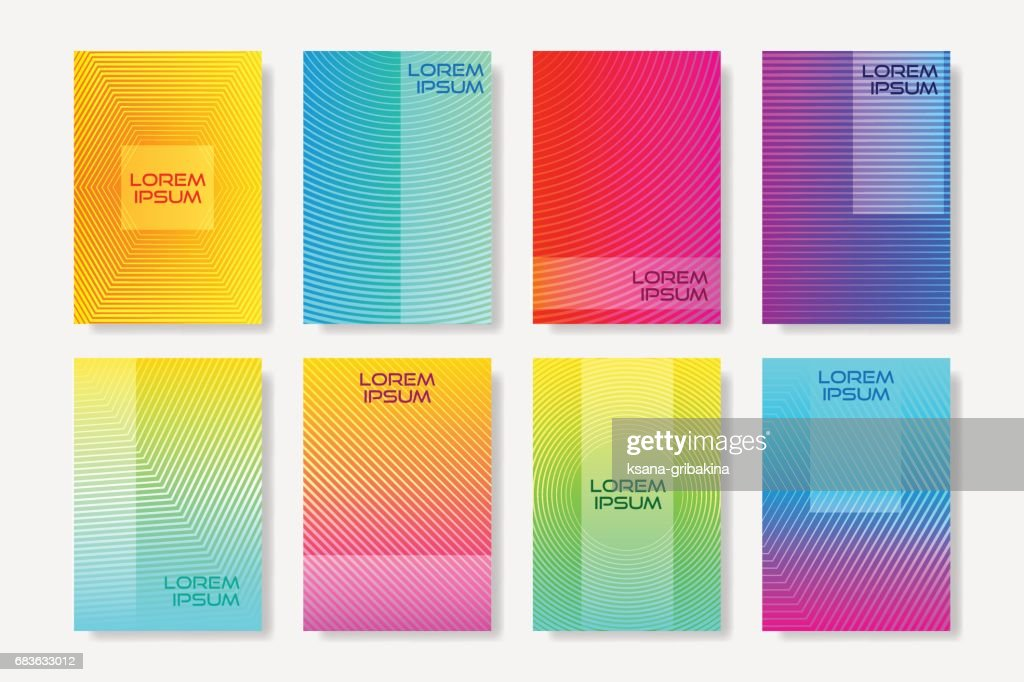 Minimal style flyers with linear halftone pattern.  Colorful cover design templates.