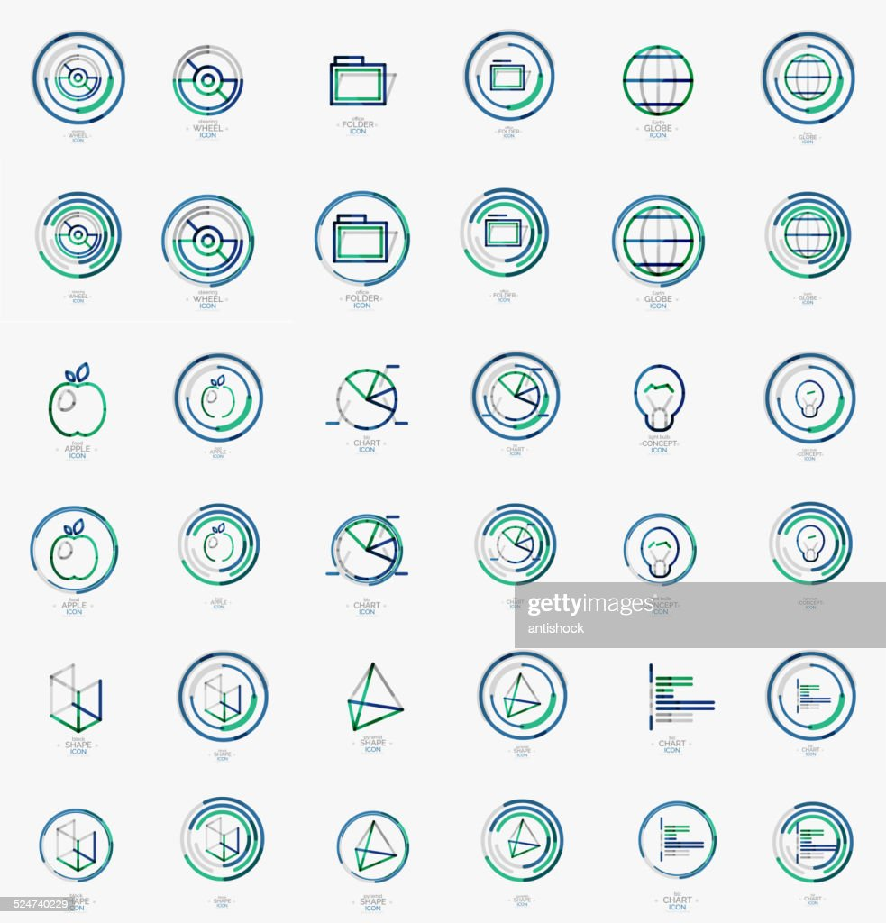 Minimal thin line design web icon set, stamps