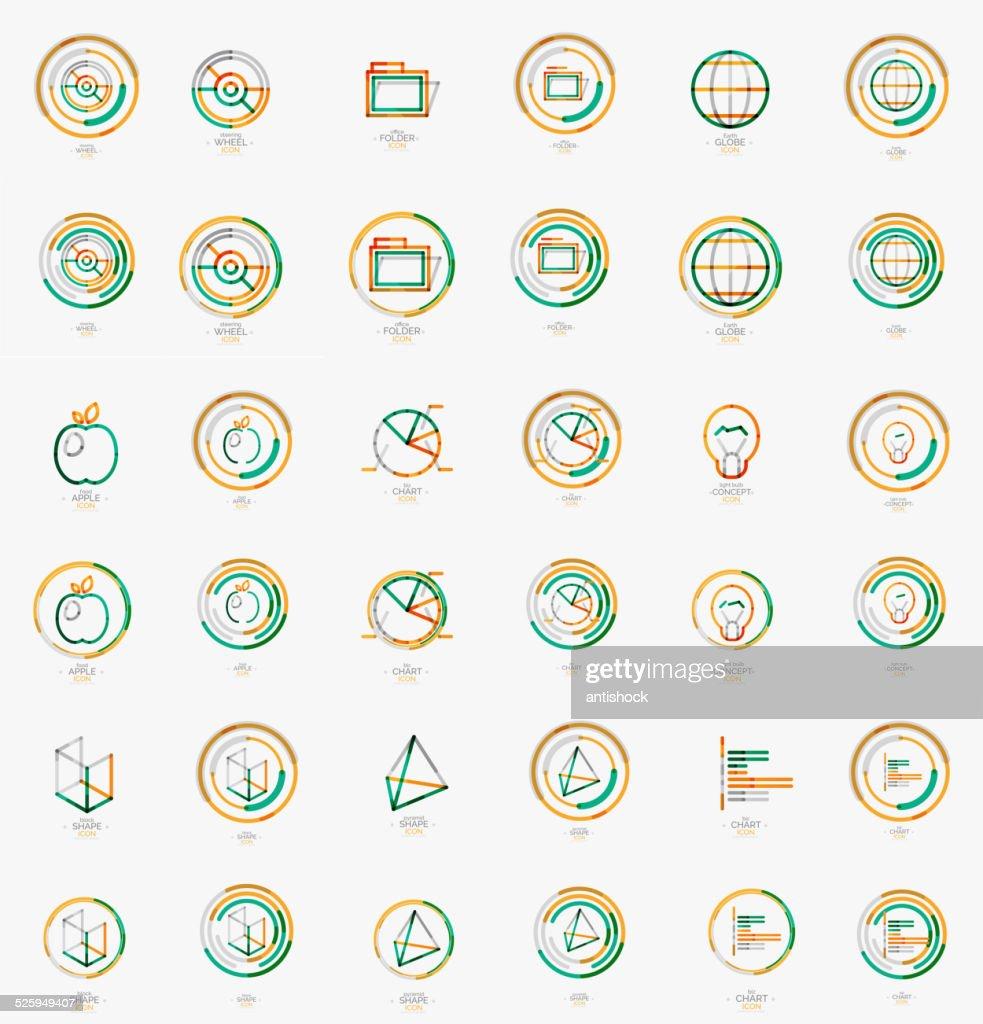 Minimal thin line design web icon set, stamps