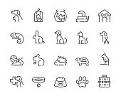 Minimal thin line pet icon set - Editable stroke