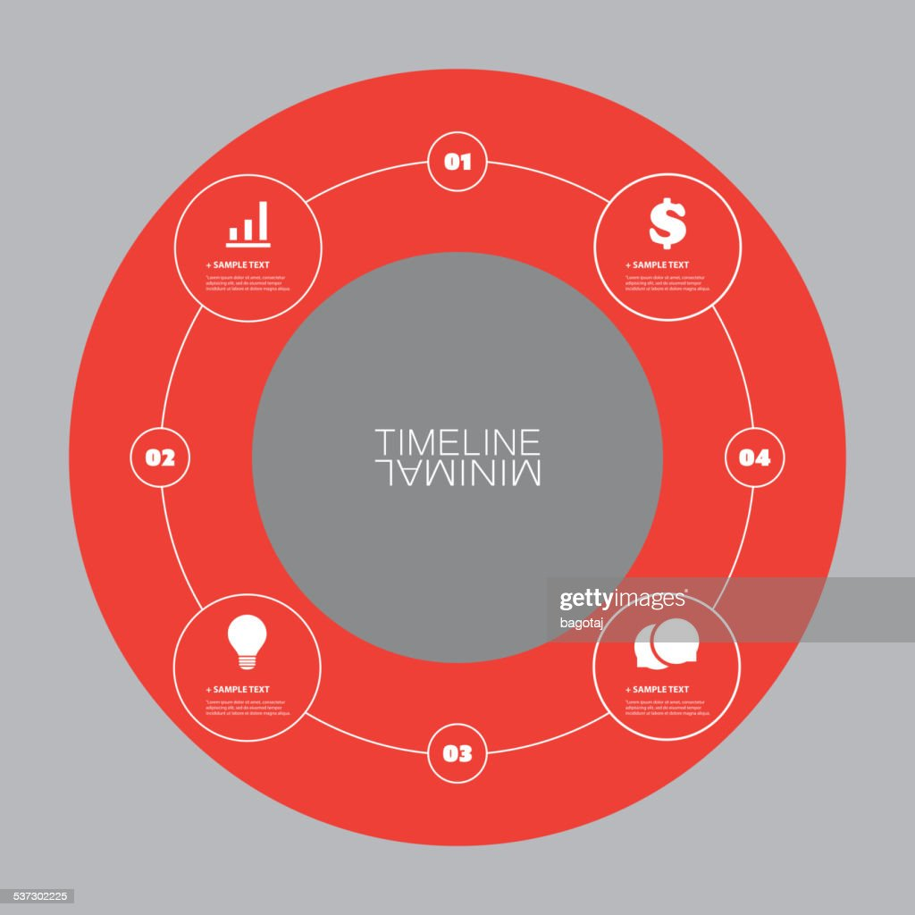 Minimal Timeline Circle Design - Infographic Elements with Icons