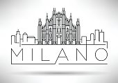 Minimal Vector Milano City Linear Skyline with Typographic Desig