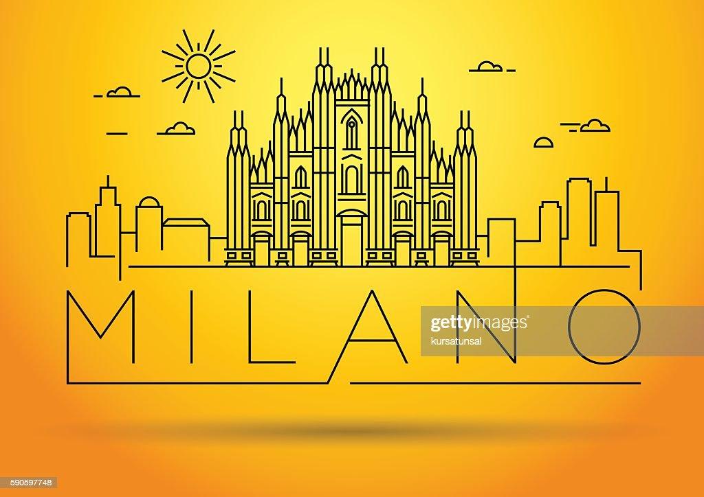 Minimal Vector Milano City Linear Skyline with Typographic Desig