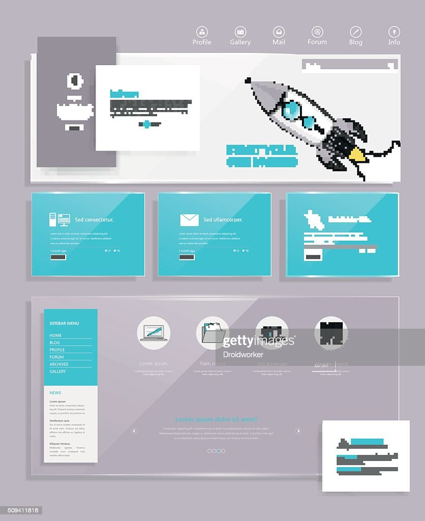 Minimal website design template in flat design