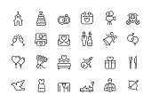 Minimal wedding icon set - Editable stroke