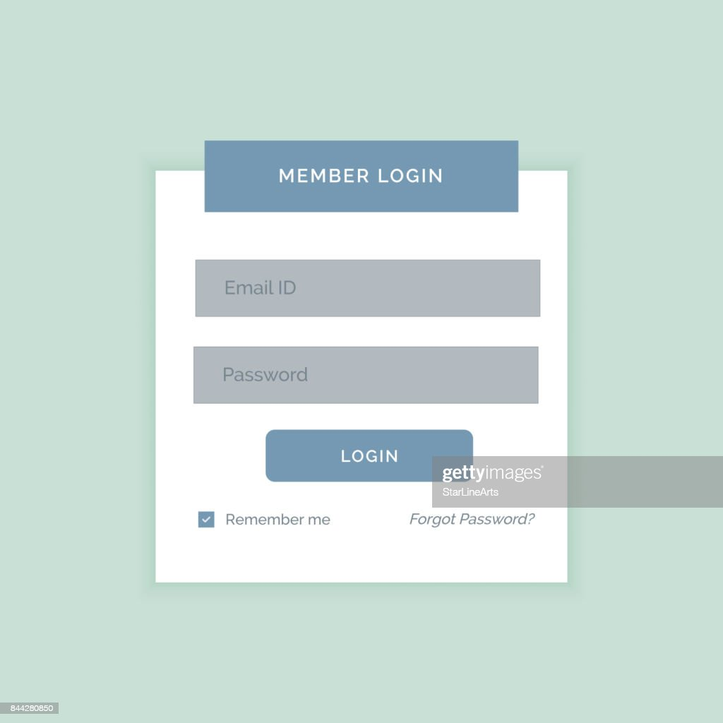 Minimal White Login Form Design Template Vector Art Getty Images