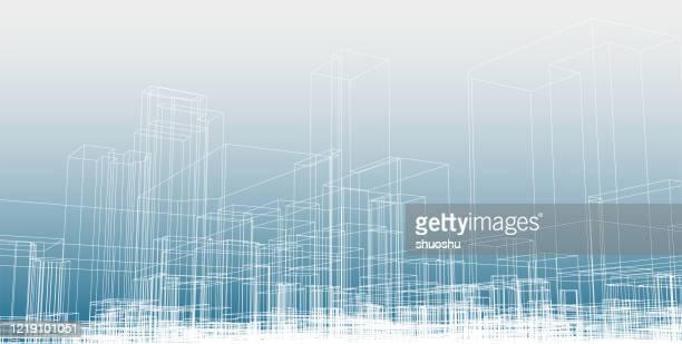stockillustraties, clipart, cartoons en iconen met de blauwdrukachtergrond van de de de blauwdruk van de de lijnstad - panoramisch