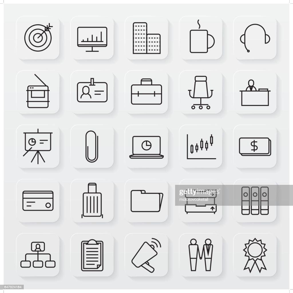 minimalist business line icon set