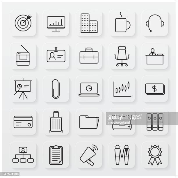 minimalist business line icon set