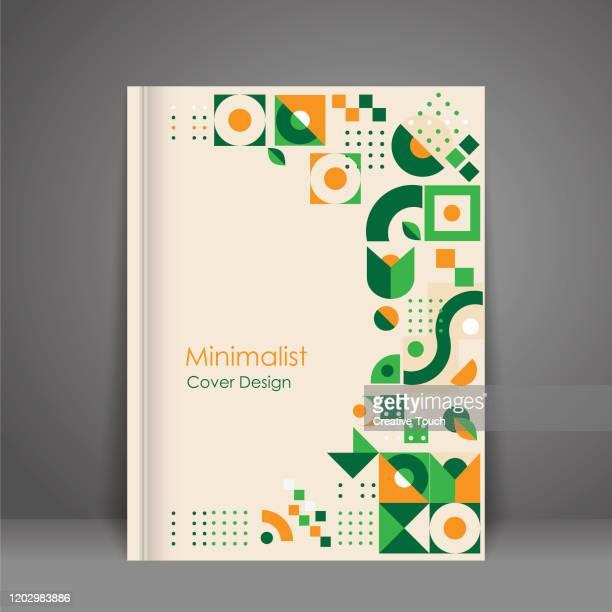 ilustrações, clipart, desenhos animados e ícones de design de capa minimalista - folheto publicação