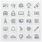 minimalist education line icon set