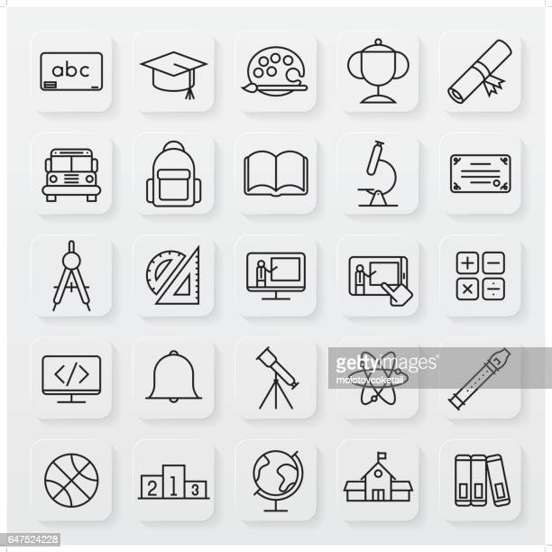 minimalist education line icon set
