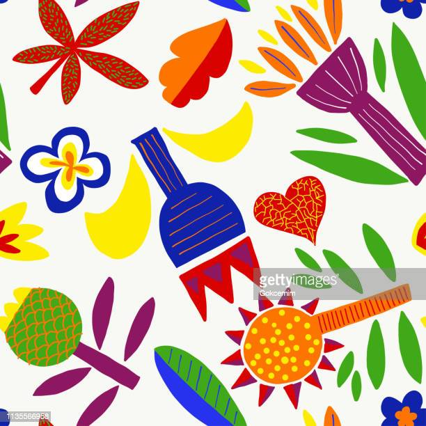 minimalistisches florales geometrisches abstraktes abstraktes muster mit bright colors isoliert auf weißem hintergrund. modern, cubist, childish background. - sammelalbum stock-grafiken, -clipart, -cartoons und -symbole